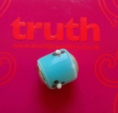 Genuine verdad PK 925 azul con negro plata pulsera encanto grano de flor