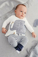 Baby Boy Long Sleeve Cartoon Elephant Shirt Top And Stripe Pants & Hat Outfit 3m