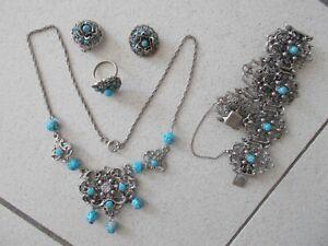 Trachten Schmuck 4teilig mit Türkisen Perlen Elegant Im Stil