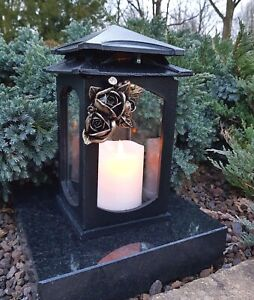 Grablaterne  Grablampe Lampe Grableuchte Grablicht Grabschmuck Engel Rose NEU