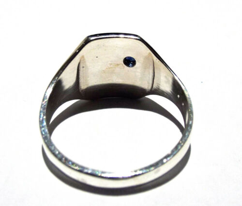 Signet Ring Sapphire Men/'s Solid Silver Gent/'s UK Hand Made Hallmarked Rectangle