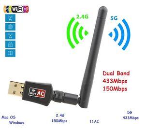 600 Mbps Dual Band 2.4//5Ghz Wireless USB WiFi Network Adapter w//Antenna 802.11AC