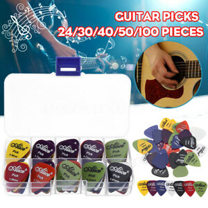 24-100pcs-Acoustic-Electric-Guitar-Picks-Plectrums-1-Plastic-Picks-Box-Case
