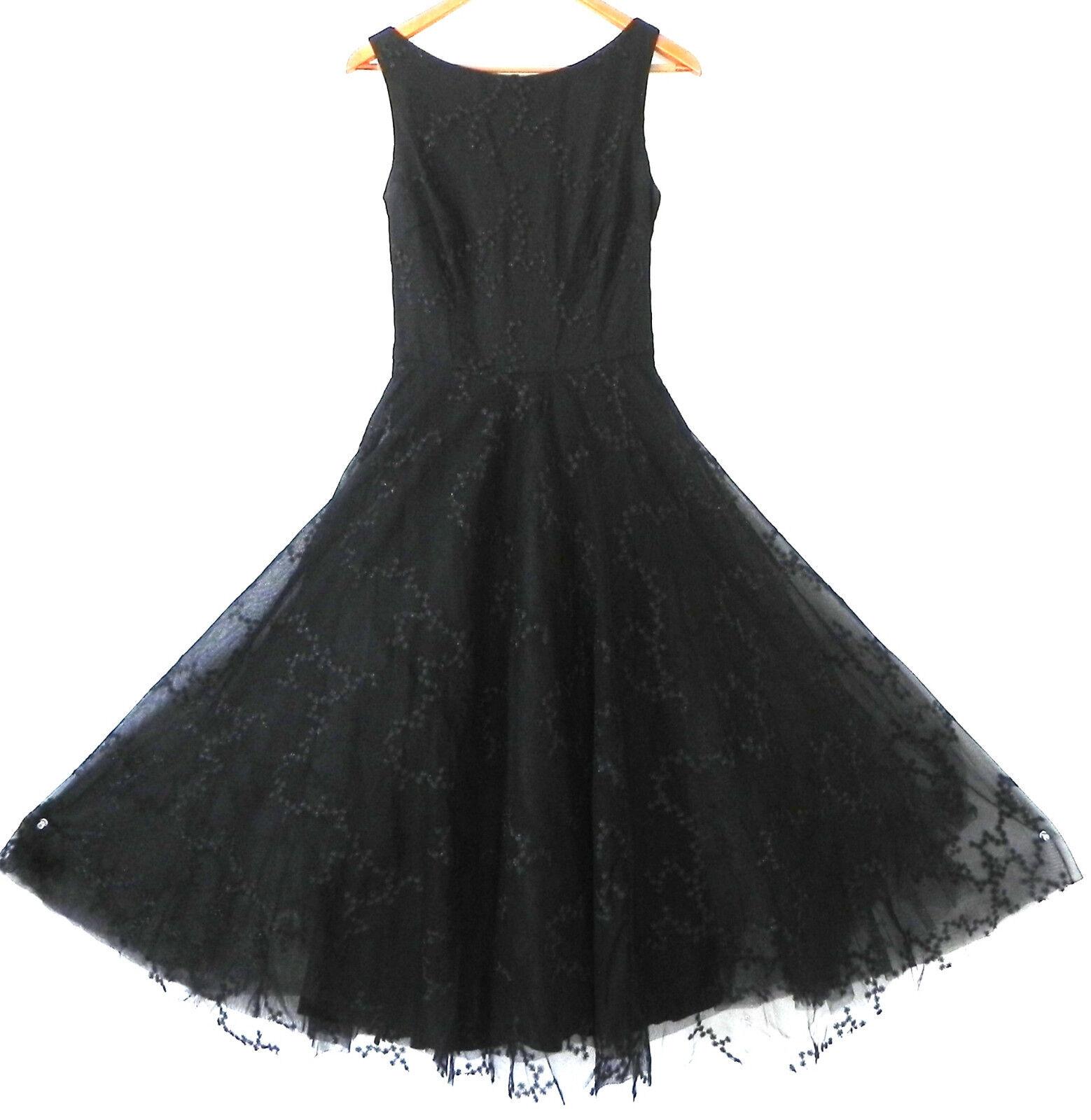 ABS Evening by Allen Schwartz schwarz Dress Lace Sleeveless Petticoat Größe 6