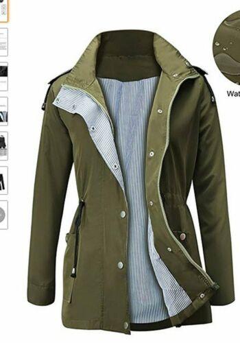 Lightweight Women Hooded Raincoat with Pockets Long Sleeve Outdoor Rainwear BS