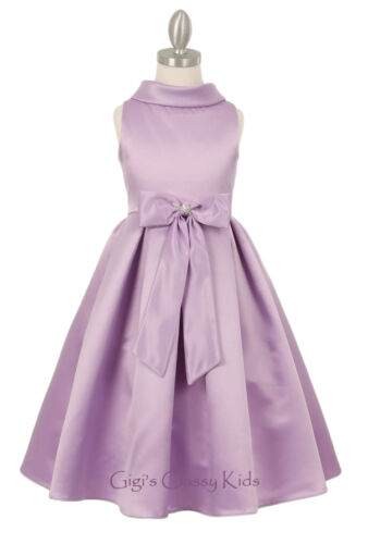 New Peach Flower Girls Satin Dress Pageant Wedding Formal Party Birthday Easter
