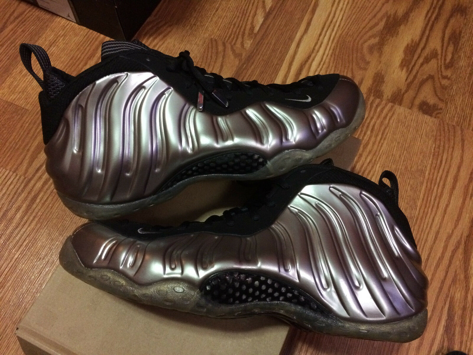 NIKE AIR FOAMPOSITE ONE METALLIC SILVER PEWTER  SIZE 12 With Yeezy Laces