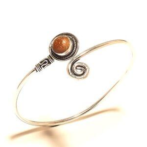 Newly-Silver-Plated-Sunstone-Bracelet-Cuff-Bangel-Handmade-Jewelry