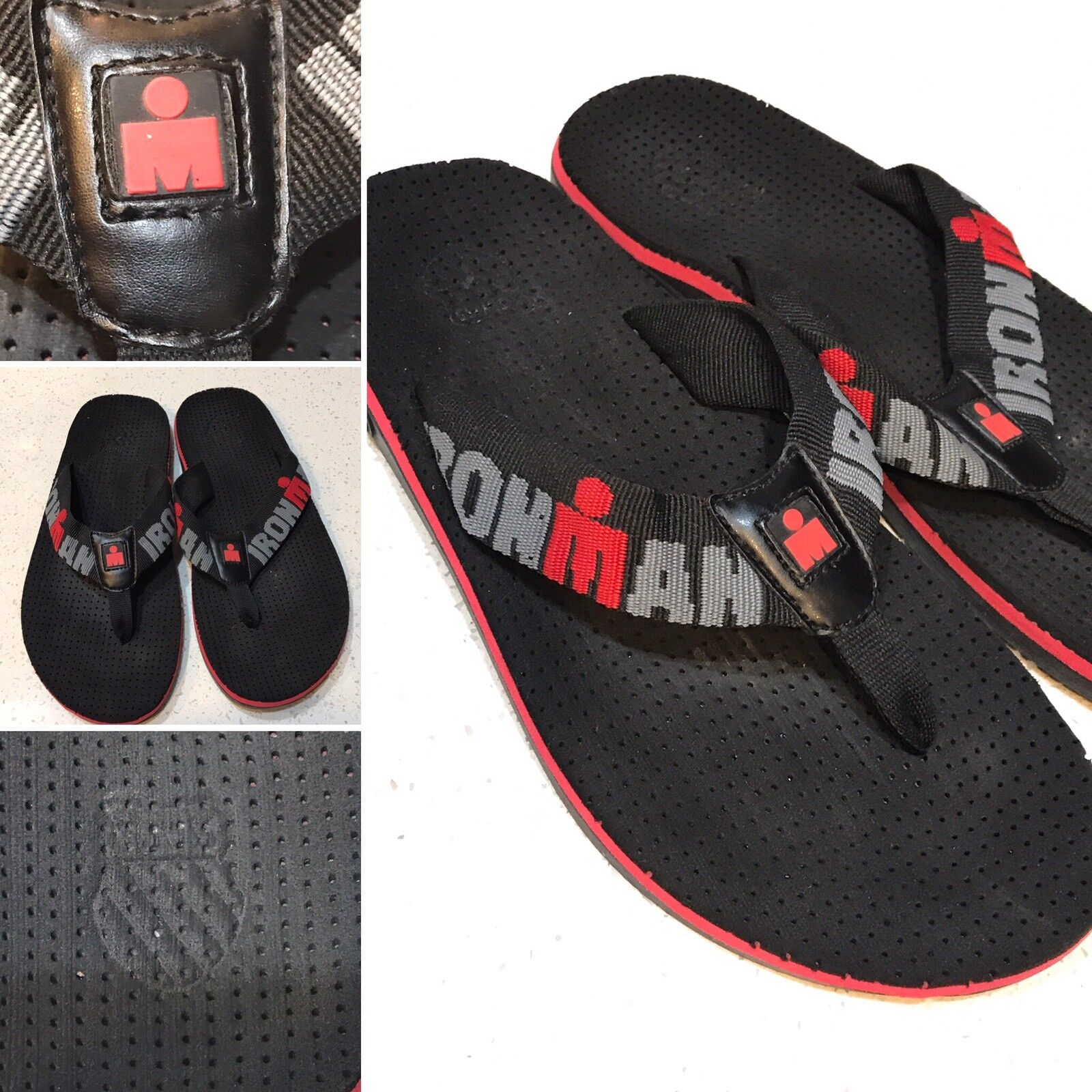 K-SWISS Ironman Men's Thong Sandals shoes Size 9-10 Red Black
