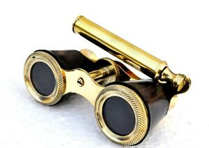 Vintage brass mother of pearl binocular maritime nautical pirate spyglass scope