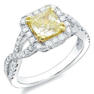 Image Is Loading 2 08 Ct Canary Fancy Yellow Cushion Cut