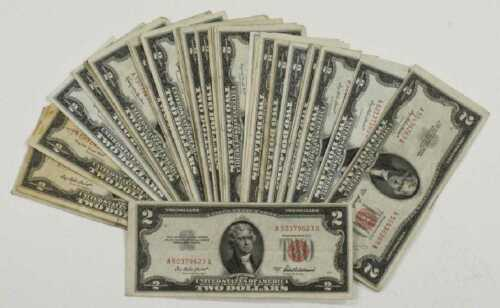 $2 Red Seal Jefferson Dollars Silver Certificate Old Estate Currency 1953 1963