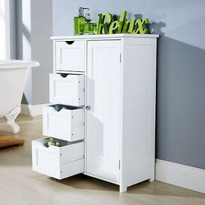 Bathroom cabinet unit storage white wood cupboard free standing 4 drawer bedroom ebay for White bathroom cabinets free standing
