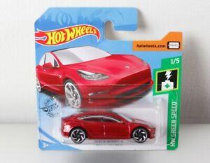 Hot-Wheels-2019-Tesla-Model-3-rojo-metalizado-red-OVP-nuevo-New-HW-Green-Speed-174