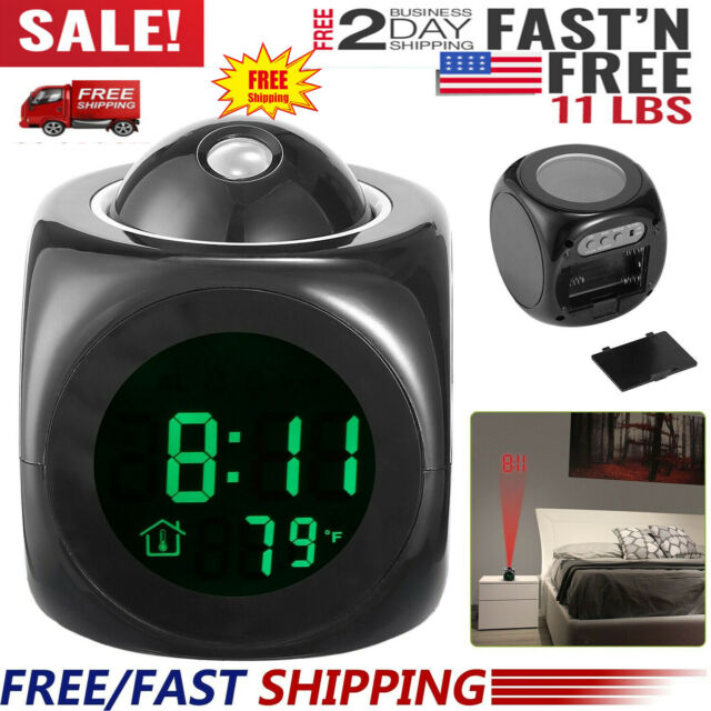 Projection Digital LCD Snooze Alarm Clock Color Display w// LED Backlight New