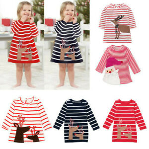 Toddler-Kids-Baby-Girls-Deer-Striped-Princess-Dress-Christmas-Outfits-Clothes