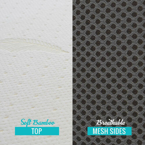 "4/"" Tri-Fold Memory Foam Mattress Topper Folding Removable Bamboo Fiber Cover New"