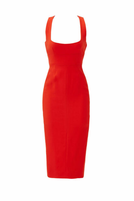Narciso Rodriguez Red Crepe Women's 36 Backout Sheath Dress $1995- #761