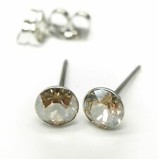 NEU Titan OHRSTECKER 4mm SWAROVSKI STEINE golden shadow/gold-braun OHRRINGE