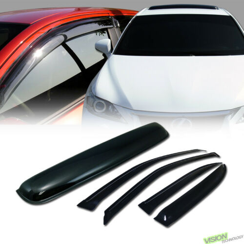 For 01-05 Civic 4Dr Sun Rain Wind Window Visors v2+Moonroof Moon Roof Deflector