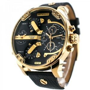 DIESEL-Mr-Daddy-2-0-Black-Dial-Oversized-Gold-Men-039-s-Chronograph-Watch-DZ7371