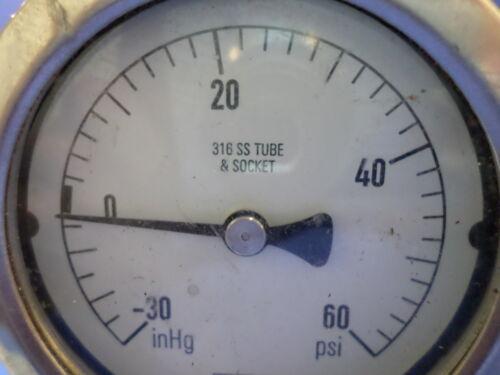 30inHg TO 60 PSI 316 SS TUBE /& SOCKET GUAGE 01444504 NOSHOK WELDED LOWER MOUNT