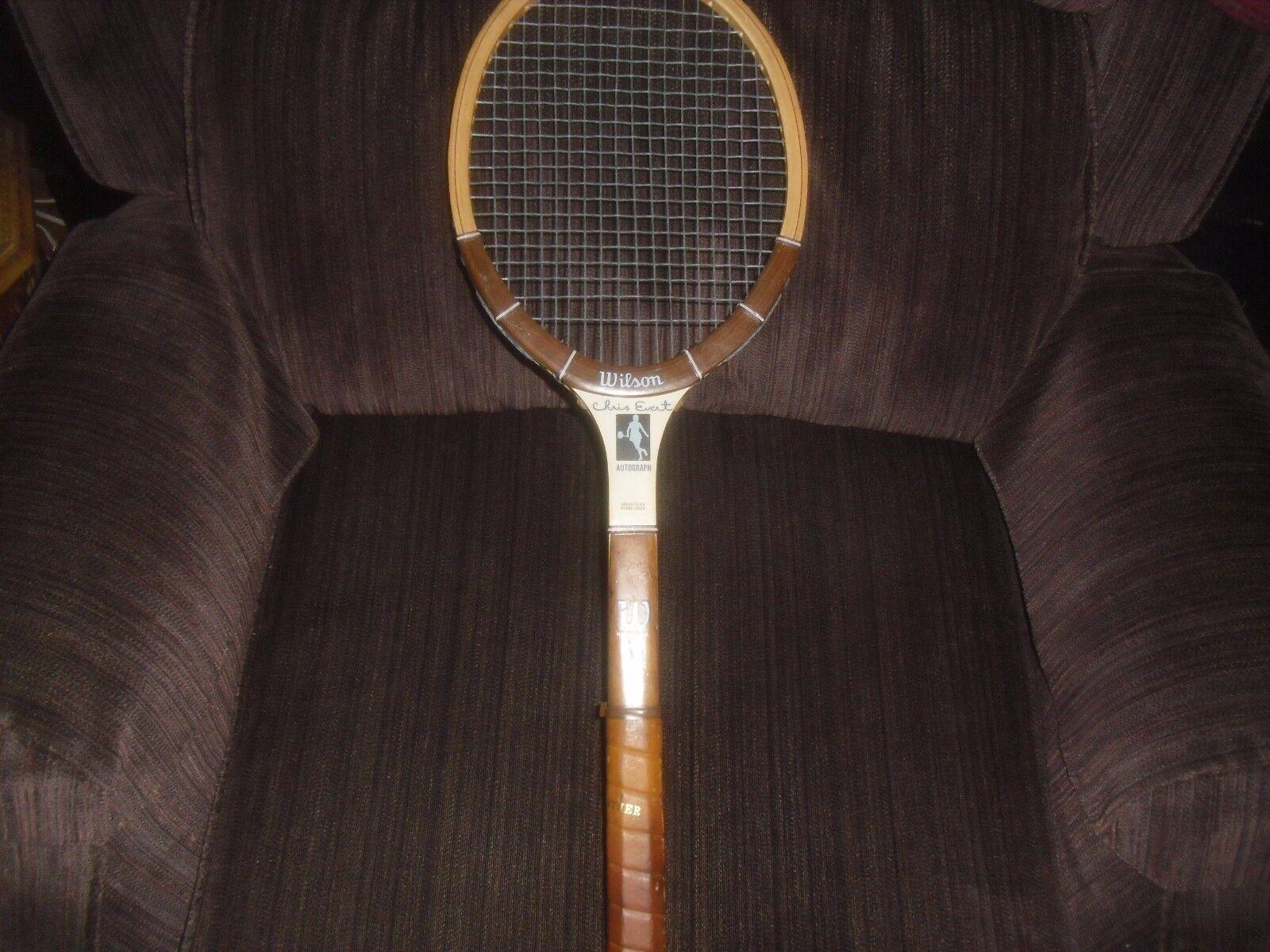Vintage années 1970 Wilson Chris Evert Autograph Modèle en Bois Raquette de tennis raquette