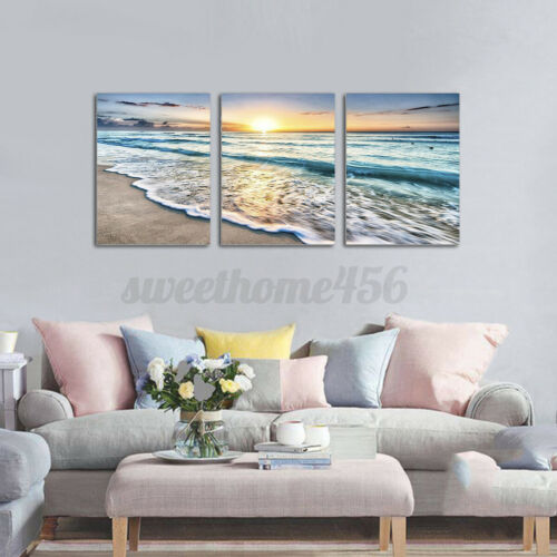 3pc Sunset Sea Beach Landscape Canvas Print Painting Wall Art Picture w//frame US