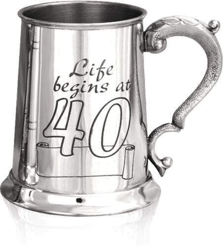 MENS 40th BIRTHDAY PINT PEWTER TANKARD Age 40 Years Old Boxed Gift ENGRAVED FREE