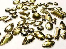 100 x Mixed Shaped Metallic GOLD Acrylic sew on, stitch on, stick on STUDS, Gems