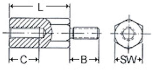 Distance boulons avec intérieur et extérieur Filetage Acier Inoxydable m5 différentes tailles