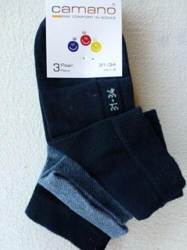 27-42 CAMANO Kinder Socken Sneaker Söckchen 3er Sparpack UNI 80/% Baumwolle Gr