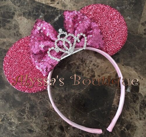 Minnie Mouse Tiara Pink Ears With Pink Sparkly Bow Headband Cute Sequin Shiny