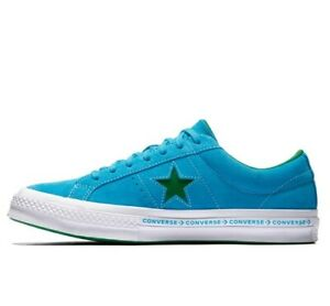 e89097ad94ca Converse One Star Pinstripe Ox Hawaiian Blue Mens Suede Trainers UK ...