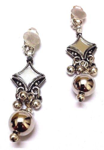 Fold Over 2 Silver Oxidized Earring Jhumka Jhumki Chandelier Dangle Drop Long