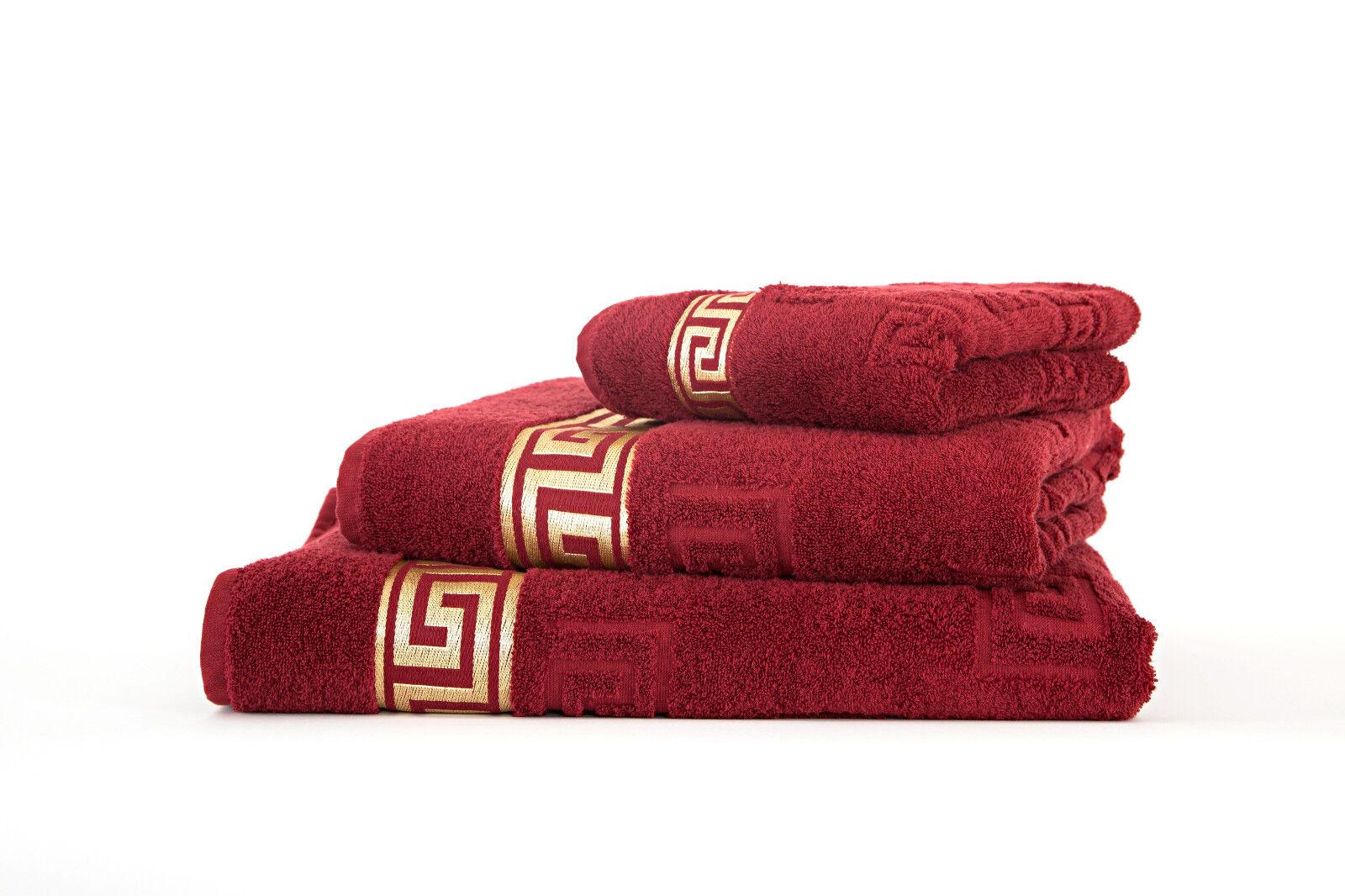 3 tlg Luxus Medusa Handtuch Set Bordeaux 100% feinste Baumwolle Saunatuch   | Die Königin Der Qualität