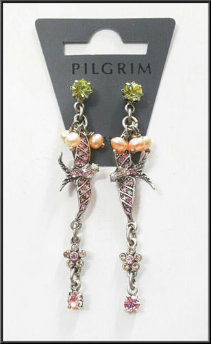 NEW PILGRIM SILVER EARRINGS CRYSTALS PEARLS Swallow Collection DROP DANGLE PINK