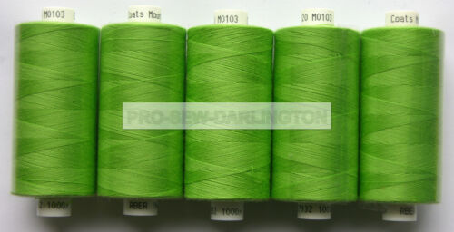 5 X REELS APPLE GREEN MOON POLYESTER SEWING THREADS COTTON 120s 103
