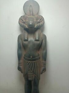 RARE ANTIQUE ANCIENT EGYPTIAN Statue God Khnum Head Snack Protection 1670 Bc