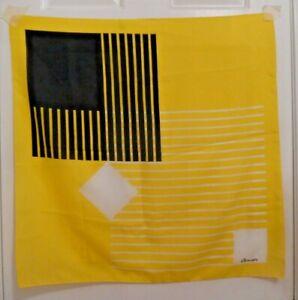 TERRIART-Black-Yellow-and-White-Stripe-amp-Box-Geometric-Prt-26-034-Sq-Scarf-Vintage