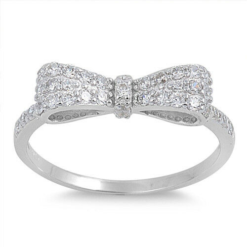 .925 Sterling Silver Women/'s Clear CZ Ribbon Bow Promise Ring Size 5 to 12 NEW