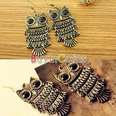New Fashion Unique Chic Retro Style Cute Animal Owl Dangle Ear Hook Earrings