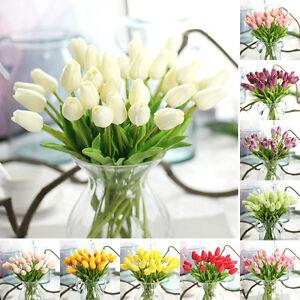 10 Stück künstliche Tulpen Blumen Kunstblumen PU blumen Wedding Bouquet Decor #