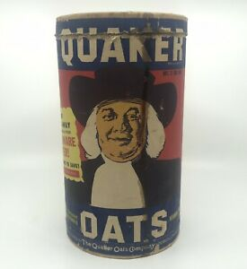 Vintage Large Original Quaker Oats Cardboard Container, Red/Blue/White