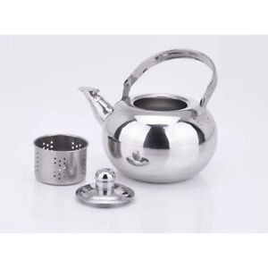 Stainless Steel Tea Kettle Metal Coffee Tea Pot with Infuser Kitchen Camping