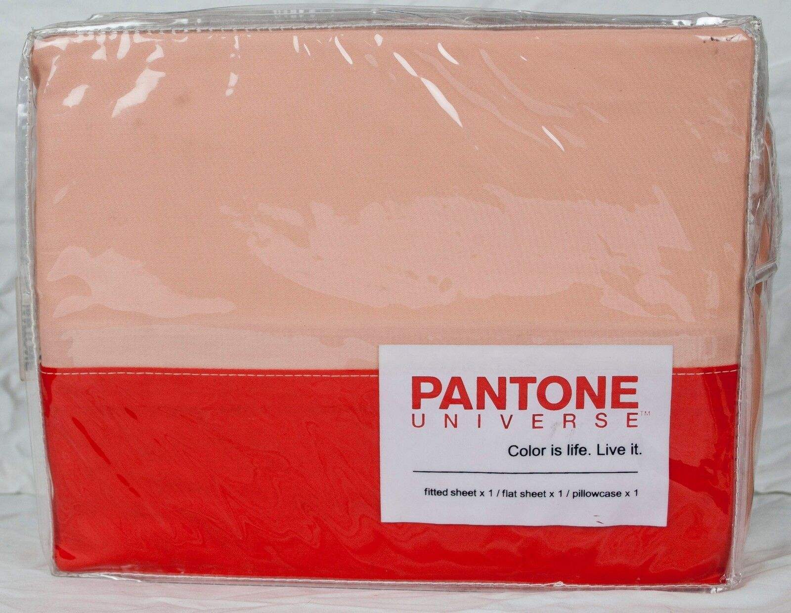 Pantone Universe Tonal Cuff Twin Sheet Set-Tangerine Tango Peach Parfait