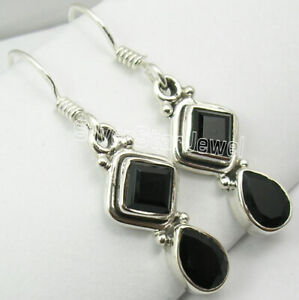 Natural-Square-Drop-Black-Onyx-Dangle-Earrings-1-4-034-0-925-Solid-Silver-Stone