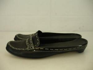 Womens-sz-5-5-B-M-Cole-Haan-Black-Leather-Penny-Loafer-Shoes-Slide-Slip-On-Flats