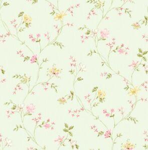 Wallpaper-Designer-Pink-Yellow-Lavender-Green-Mini-Floral-Vine-on-Light-Green