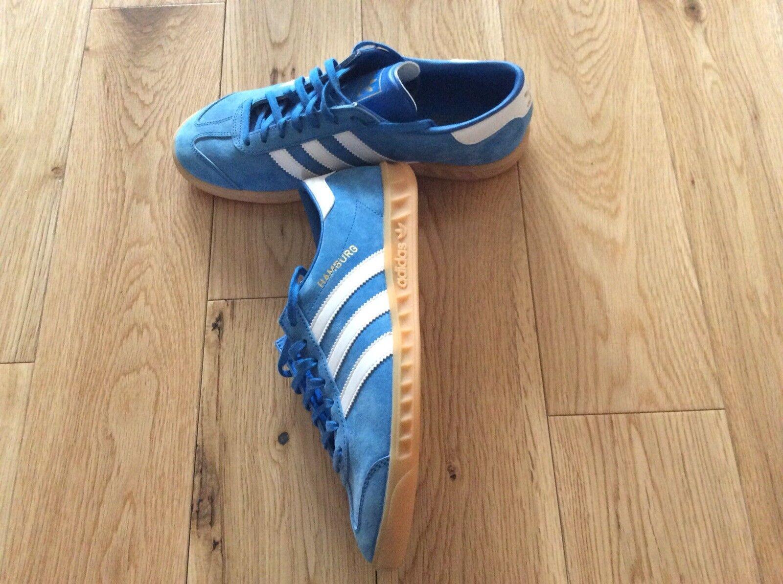 Adidas Amburgo Uomo Scarpe da ginnastica, UK taglia 8, Blu, condizioni eccellenti Scarpe classiche da uomo